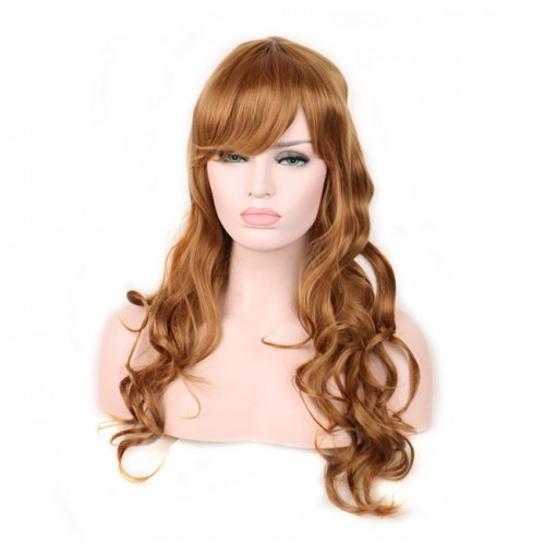 60 cm women wig long hair wine