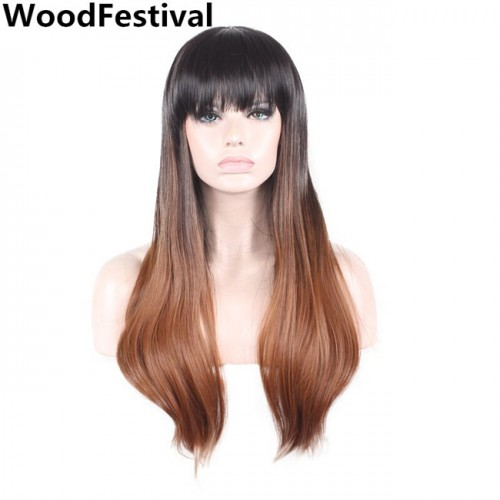 WoodFestival black brown long straight wig