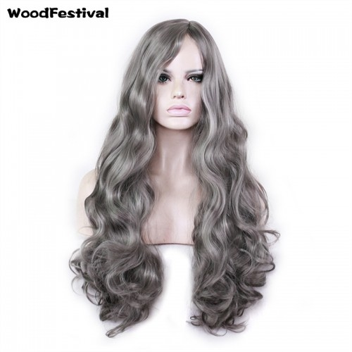 WoodFestival long wavy dark grey wig cosplay women