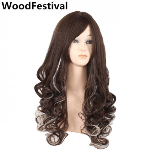 WoodFestival ombre brown wig wavy long synthetic wigs