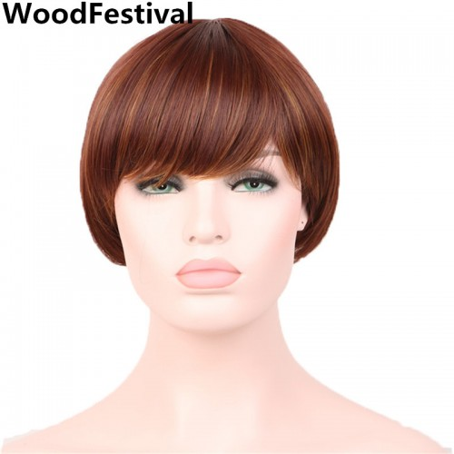 african american wigs with bangs heat resistant brown wig