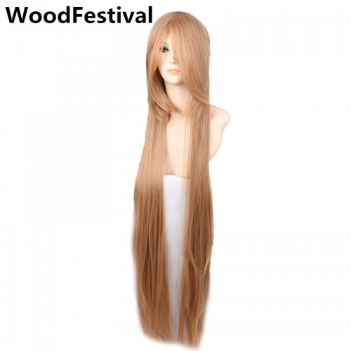womens 100 cm heat resistant wig blonde straight long wigs