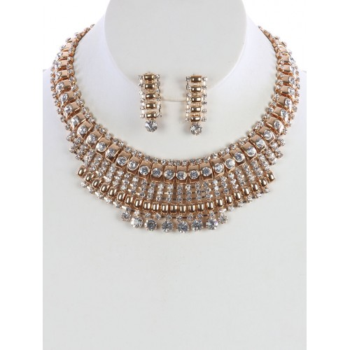 BIB RHINESTONE CHOKER NECKLACE AND EARRING SET