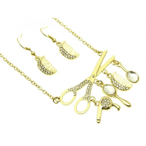 LINK METAL NECKLACE AND EARRING SET