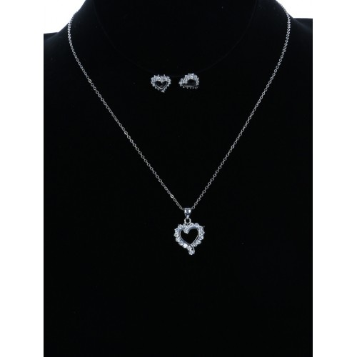 CUBIC ZIRCONIA METAL HEART CHARM NECKLACE EARRING SET