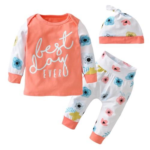 3pcs/suit Baby Girl Clothing Set Long Sleeve Fashion