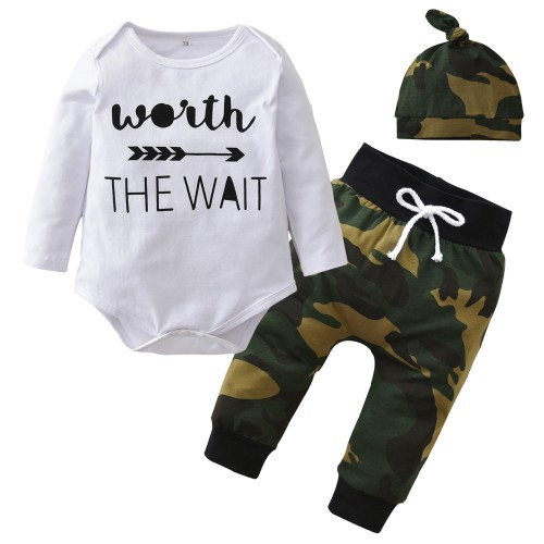 Army Green Toddler Outfits 3Pcs Suit Newborn Baby Boy