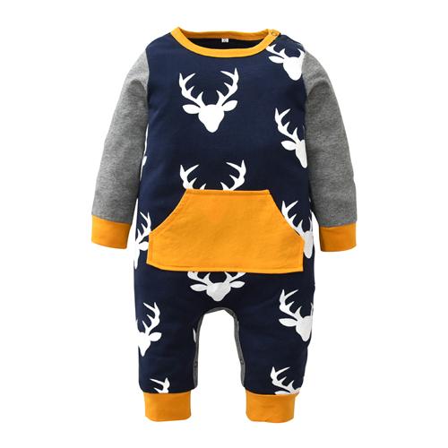 Xmas Deer Head Baby Rompers Autumn