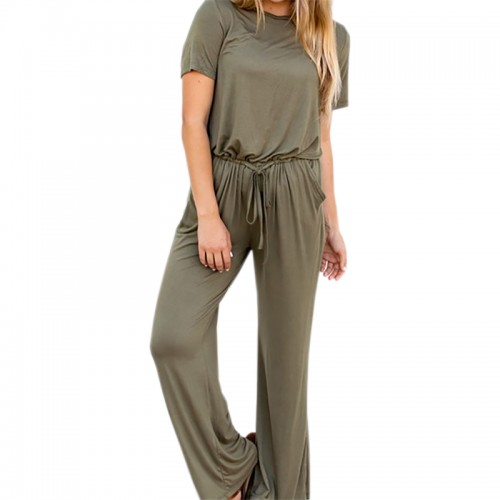 Drawstring Pockets Loose Jumpsuits 2017