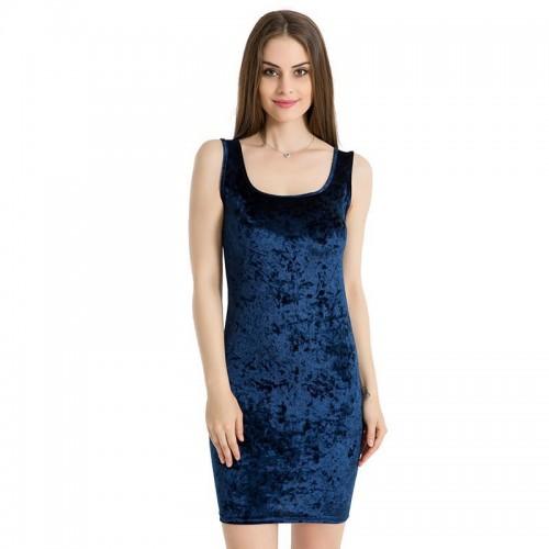 Sexy Sheath Dress Square Collar Velvet Bodycon Dress