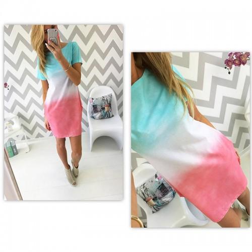 T Shirt Dress Gradient Color Slim Shirt Dress