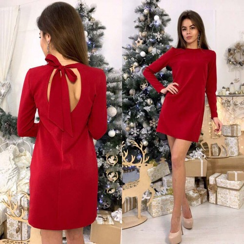 O-Neck Shift Dress Long Sleeve Office Dress Casual Bow
