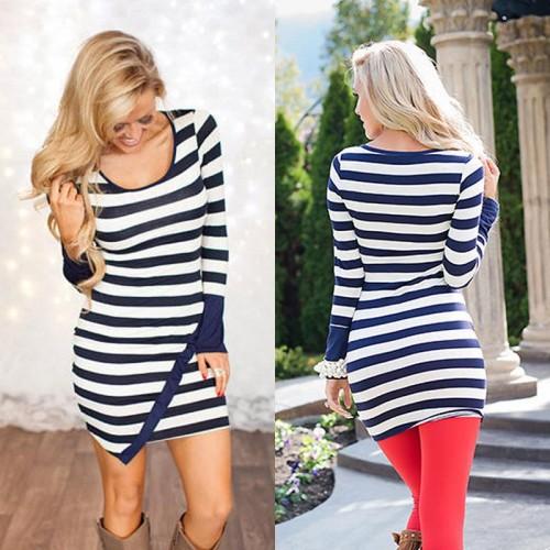 long sleeve Print Striped Women Mini Dresses