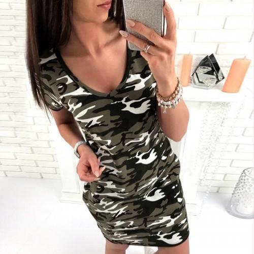 Women Camouflage Printed Short Sleeve T-Shirt Dress