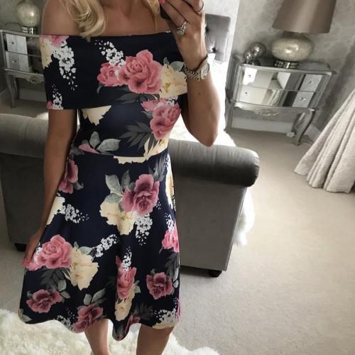 Floral Print Elegant Slim Dress Sexy Casual Slash