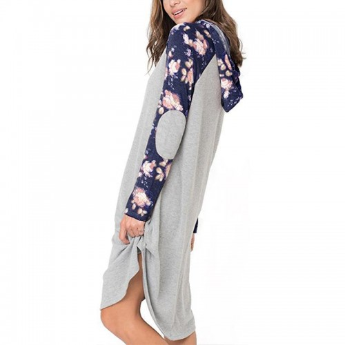 Fashion Hooded Dress Print Long Loose Sweatshirt