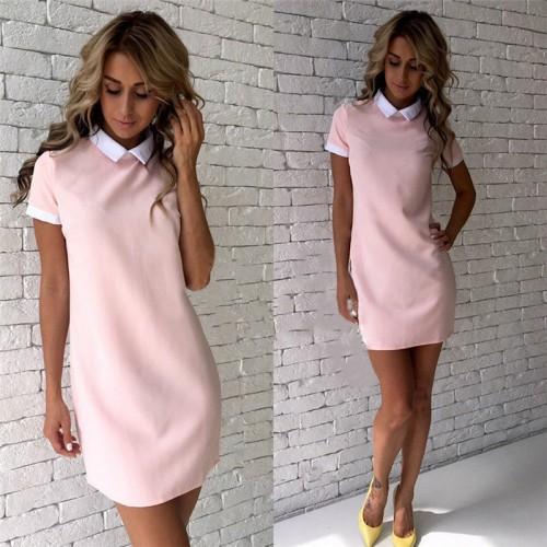 Women Dresses Turn-down Collar Casual Dress