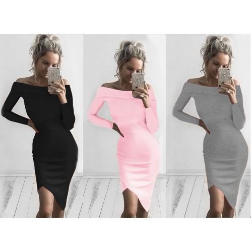 Sexy Bodycon Irregular Dress Long Sleeve