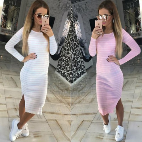 Slim Sheath Dresses Round Neck Striped Dress Long Sleeve