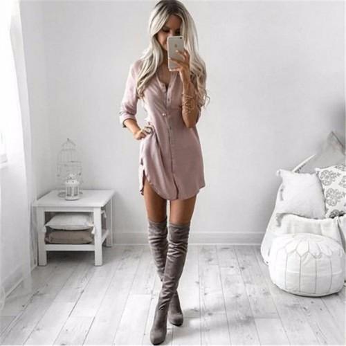 Mini Dresses Women Autumn Long Sleeve Casual Shirt