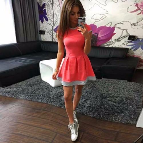 Short Sleeve Patchwork O-Neck Dresses