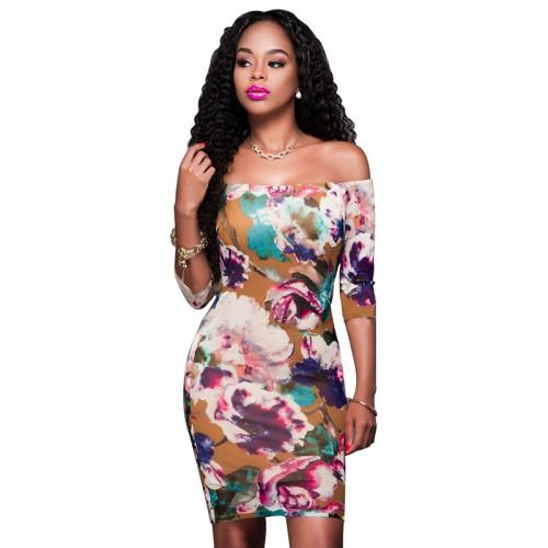 Short Dresses Sexy Off Shoulder Women Flower Print