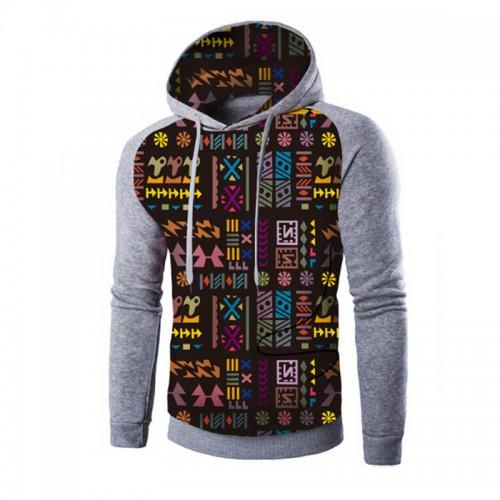 Fashion Printed Hoodies Men Patchwork Design Ethnic