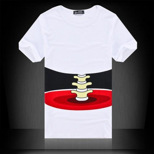 White Print Bone Short Sleeve Mens T-shirt