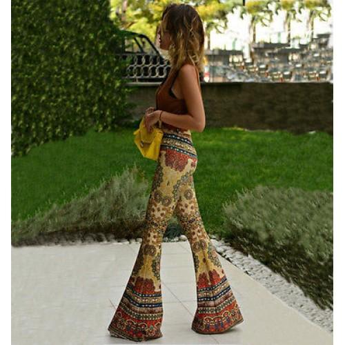 NEW Fashion Women Flare Print Pants