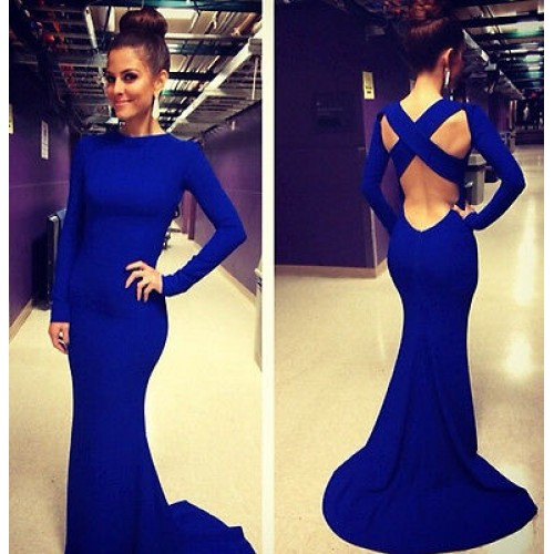 Slim Fishtail Party Evening Long Dress