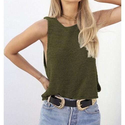 Women Girls Loose Knitted Tank Tops