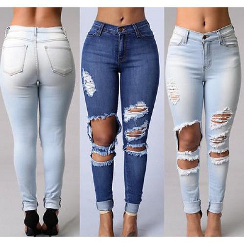 Women Denim Skinny Ripped Hole Jeans