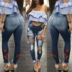 Style Hole Embroidered Sexy Jeans Women