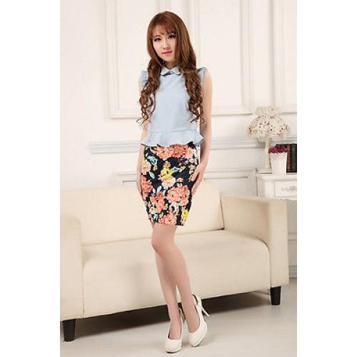 Lady High Waist A-Line Skirts Floral Print