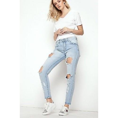 Hole Light Jeans Women Ladies High