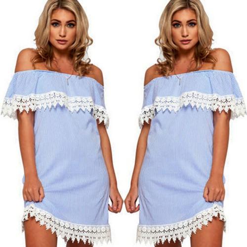 2017 Fashion Cute Women's Summer Striped Dresses Casual
