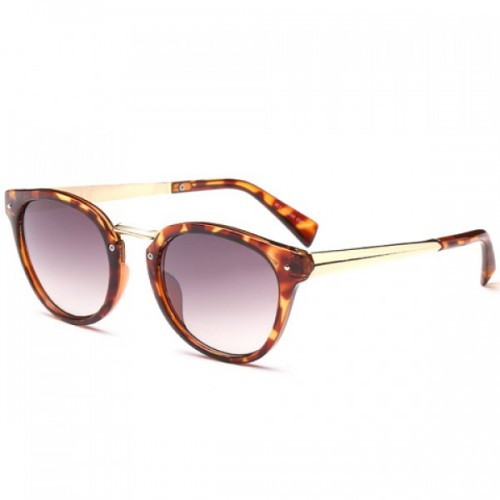 Chic Metal Match and Leopard Frame Design Sunglasses For Women - Brown