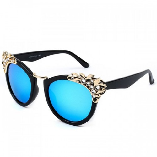 Chic Rhinestone and Leaf Shape Embellished Black Sunglasses For Women