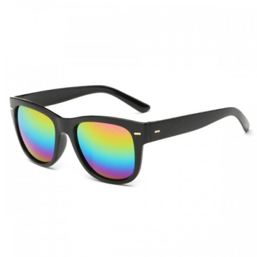 Short Stripe Shape Alloy Inlay Rainbow Color Lenses Sunglasses