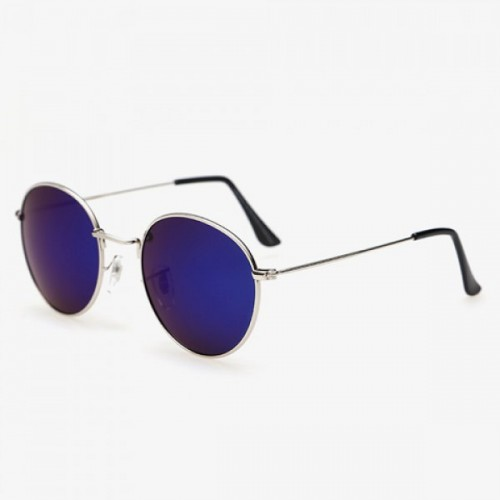 Stylish Full Frame Outdoor Silver Sunglasses For Men - Deep Blue