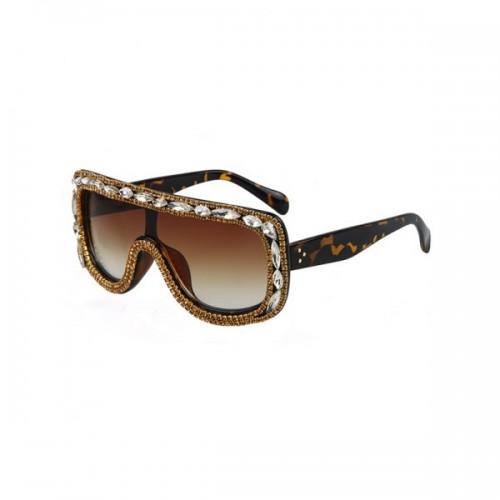 Chic Rhinestone Leopard Pattern Shield Sunglasses For Women - Brown