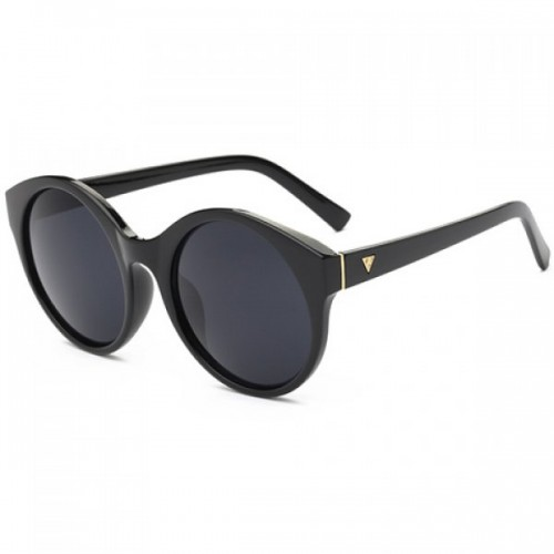Round Flat Lens Solid Color Frame Up-To-Date Sunglasses