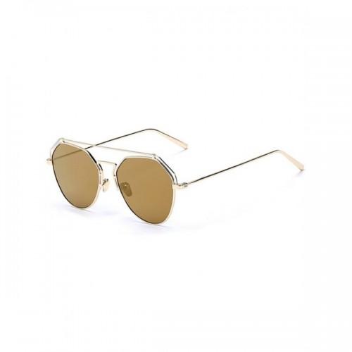 Stylish Golden Brow-Bar Mirrored Pilot Sunglasses
