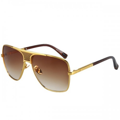 Plaid Mesh Shape and Alloy Crossbar Design Golden Oversized Sunglasses
