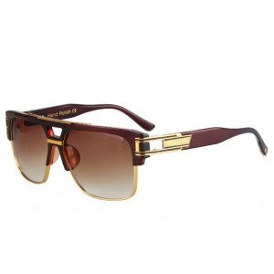 Alloy Inlay Nose Bridge and Crossbar Design Tea-Colored Sunglasses