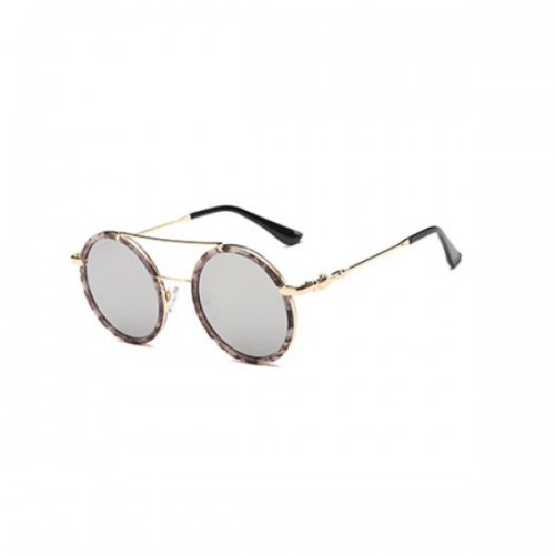 Joy-Ride Cross-Bar Marble Round Sunglasses
