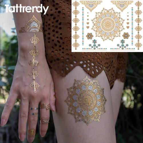 1pc Gold Flash Metallic Temporary Tattoos
