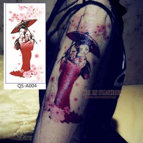 1pc Japanese Geisha Tattoo Temporary Tattoos Stickers