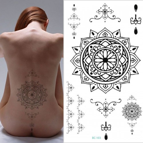 1pc black Men Women big Scar Cover Flash Tattoo
