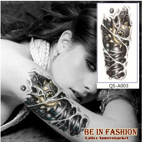 1pc mechanical 3D robot arm temporary tattoo stickers
